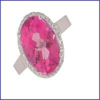 14k white ladies pink topaz diamond ring