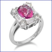18k white gold ladies diamond ring with a pink sapphire