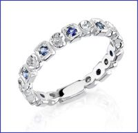 18k white diamond and sapphire band