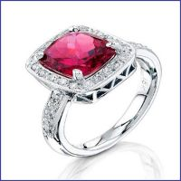 18k white gold diamond and ruby ring
